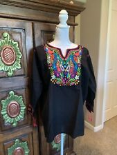 Pavo Real Peacock Mexican Blouse Top Shirt Embroidered Chiapas Off White Size L