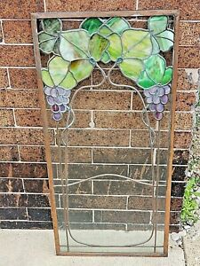 Art Nouveau Antique Stained Glass Window Grape & Vine Motif Authentic