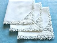 "3 Vintage White Cotton Linen Napkins TATTING Crocheted Edges 13""x13"""