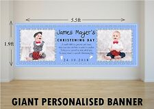 Personalised GIANT Large Boys Blue Christening Day Baptism Poster Banner N8