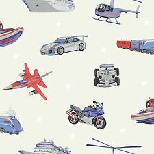 ZOOM AWAY VEHICLES WALLPAPER GREY - ARTHOUSE 696204 - PLANES CARS TRAINS NEW