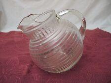 VINTAGE ANCHOR HOCKING CLEAR GLASS TILT BALL PITCHER - MANHATTAN - 24 OZ