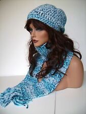 TURQUOISE MULTI HAND CROCHET HAT AND SCARF SET HAND MADE  BEANIE CLOCHE BOHO