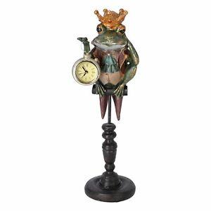 Estatuilla De Rana Con Corona Reloj En Mano Relojes de Mesa Apoyo Vintage