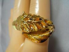 HEAVY 11.15G WIDE 18K GOLD PANTHER CAT TIGER LION LEOPARD ENAMEL WRAP RING 18KT