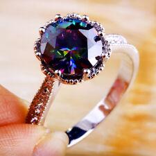 Round Rainbow & White Topaz Gemstone 925 Silver Ring Sz 11 Women Fashion Jewelry