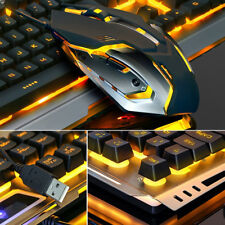 LED Backlit USB Gaming Keyboard Mouse Combo Optical Gamer Sets With Mouse Pad ES