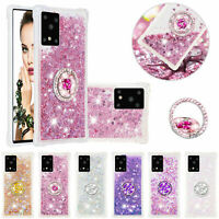 Bling Rubber Quicksand Ring Holder Cover Case For Samsung Galaxy A11 A51 A71 A21