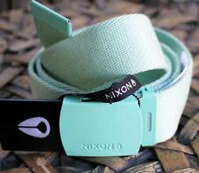 "NIXON Mens ""Basis"" Cloth Belt Free Size Heavy Drill MINT Icon Snap Buckle BNWT"