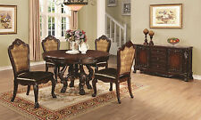 5PC Benbrook Dark Cherry Finish Carved Wood Round Dining Table Set