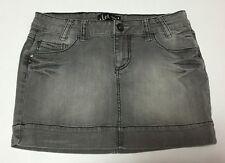 LEI Gray Jean Mini Skirt Ashley Trouble Distressed Rhinestones Sz 9 (421)