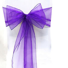 25/50/100PCS Organza Chair Cover Sash Bow Wedding Party Reception Banquet Decor