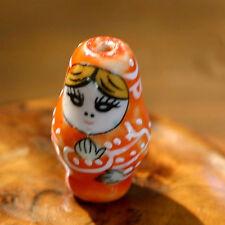 1 Perle Céramique MATRIOCHKA - Orange - Fait main 16/27 mm