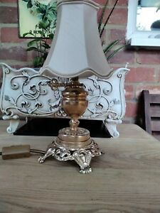 REFURBISHED VINTAGE FRENCH LAMP WITH SILK SHADE