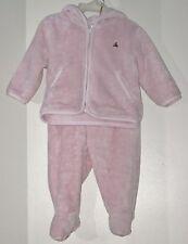 babyGAP Size 6-12 Months Pink Fleece Footed Pants & Front Zipper Hoody Set