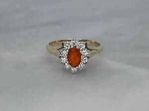 Beautiful Solid 9ct Yellow Gold Cluster Ring Fire Opal Sparkly Cubic Zirconia M