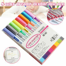 Us Stationery 8 Colors Card Markers Drawing Pens Double Line Outline Highlighter