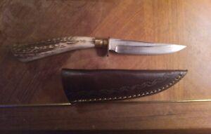 Bone / Antler Handled Hunting Knife (Hand Made) Never Used.