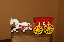 HORSE with RED ICE WAGON  cast iron  toy movable wheels  figurine