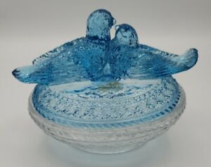 Vintage Viking Dalzell Blue Clear Glas sNesting Love Birds Covered Candy Dish