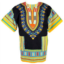 Cotton African Dashiki Mexican Poncho Hippie Tribal Shirt Blouse Black ad09y bid
