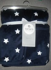 Brand NEW Carter's Baby Cozy Fleece Sherpa Blanket Plush Navy Star 30 X 40