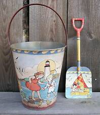Rustic Vtg Look Tin Beach Sand Toy Pail/Bucket & Shovel-Nautical Home Decor-New