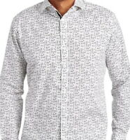 Jerry Garcia Mens L/S Shirt * White Abstract Print Size Large Stretch NWT