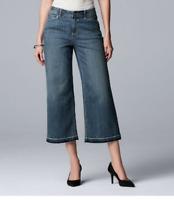 Women's Vera Wang Raw Hem Midrise Wide Leg Crop Jeans