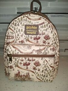 Loungefly Harry Potter School Grounds Map Mini Backpack Bag Purse Hogwarts NWT