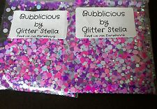 Nail Art Mixed Glitter Mix  ( Bubblicious ) 10g Bag Chunky Shiny Pink Dots