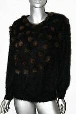 Vtg Fully Fashion Fluffy 80% Angora Fur Sweater Black Brown Pom-Poms Womens MED