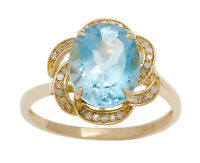 10k Yellow Gold 3.16ct Oval Blue Topaz and Pave Curved Halo Diamond Ring