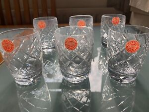 Webb Corbett 6 Crystal Whisky glasses - unused