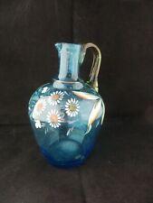 Ancienne Carafe Verre coloré bleu Emaillé à Décor floral Collection