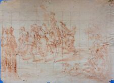 DESSIN ANCIEN ITALIEN FIN XVIIème - SCENE DE DANSE SANGUINE - 30 X 22 cm -