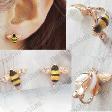 CLIP ON crystal HONEY BEE EARRINGS clips GOLD FASHION non-pierced BEES honeybee