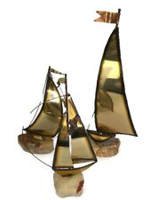 Vintage Brass Copper Metal Sail Boat Demott Signed Sculpture Marble Base Lot 3