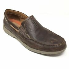 Men's Clarks Un.Nautical Loafers Boat Shoes Size 13M Brown Leather Stretch Z6