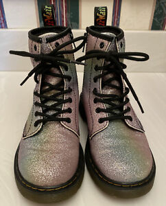 Doc Martens NEW Rainbow Glitter 1460 J Metallic Girls Combat Boots Size 3