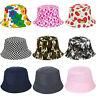 KIDS BUCKET HAT CHILDREN SUN FESTIVAL BRIGHT COLOUR PATTERN HATS CAP BEANIE