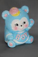Vintage 1989 Geo. Z. Lefton #07424 Blue Bear Baby Nursery Planter