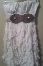 Junior's S Dress cream sleeveless belted empire waist gathered hemline lined ma1