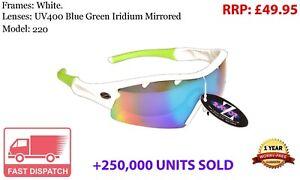 RayZor Cycling Sports Wrap Sunglasses Uv400 White Blue Green Mirrored RRP£49 f