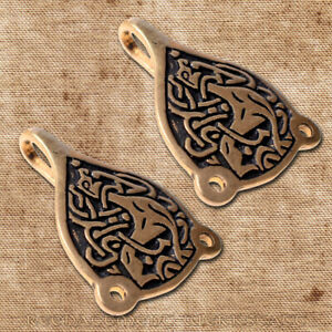 2 Stück angelsächsische Wadenwickelhaken Bronze Wikinger Gewandhaken Trewhiddle