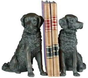 BOOKENDS SITTING SPANIEL DOGS HAND-CAST RESIN OK CASTING MADE IN USA CLA