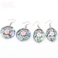 2pcs 1 Lot Genuine Abalone Shell Flower Carved Shell Gems Silver Dangle Earrings