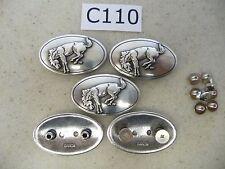 #C110 Enmon Lot of 5 Bucking Bronco Horse Mustang Concho Western 40x25mm Oval