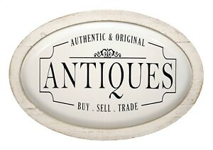 "White Enamel Metal 'Authentic Antiques' Oval Wall Sign Home Garden Decor 17"" NEW"