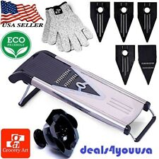 Grocery Art V-Blade Mandoline Stainless Steel Food Slicer Cutter 5 Blades+Gloves